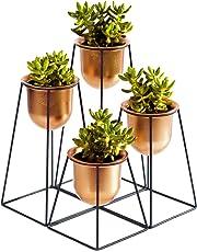 Sunlit Set di 4 Supporti per Piante in Metallo con vasi, Supporto Geometrico per Piante in Ferro, per Giardino, casa, Ufficio, Decorazione per Interni ed Esterni, con Fori di drenaggio