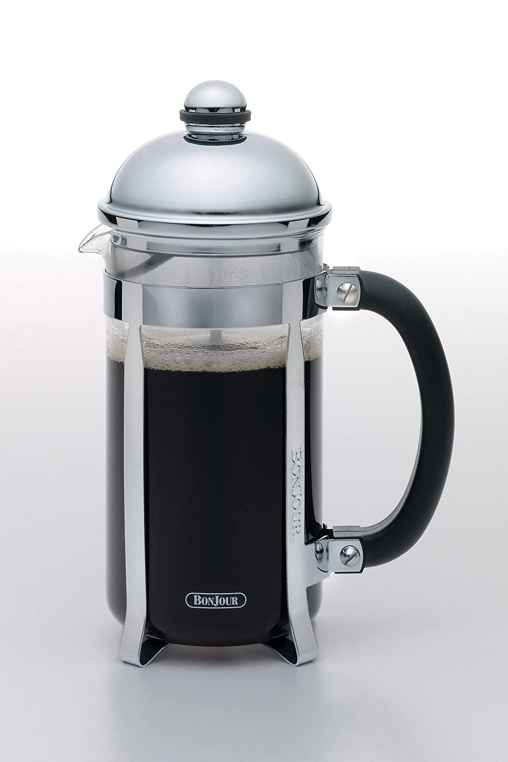 BonJour Coffee 8-Demitasse Cup, 33.8 oz, Maximus French Press, Stainless Steel