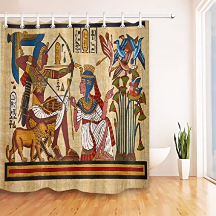 LB Custom Shower CurtainAncient Egypt Mural Pharaoh Queen Archery 3D Digital Printing Polyester Fabric
