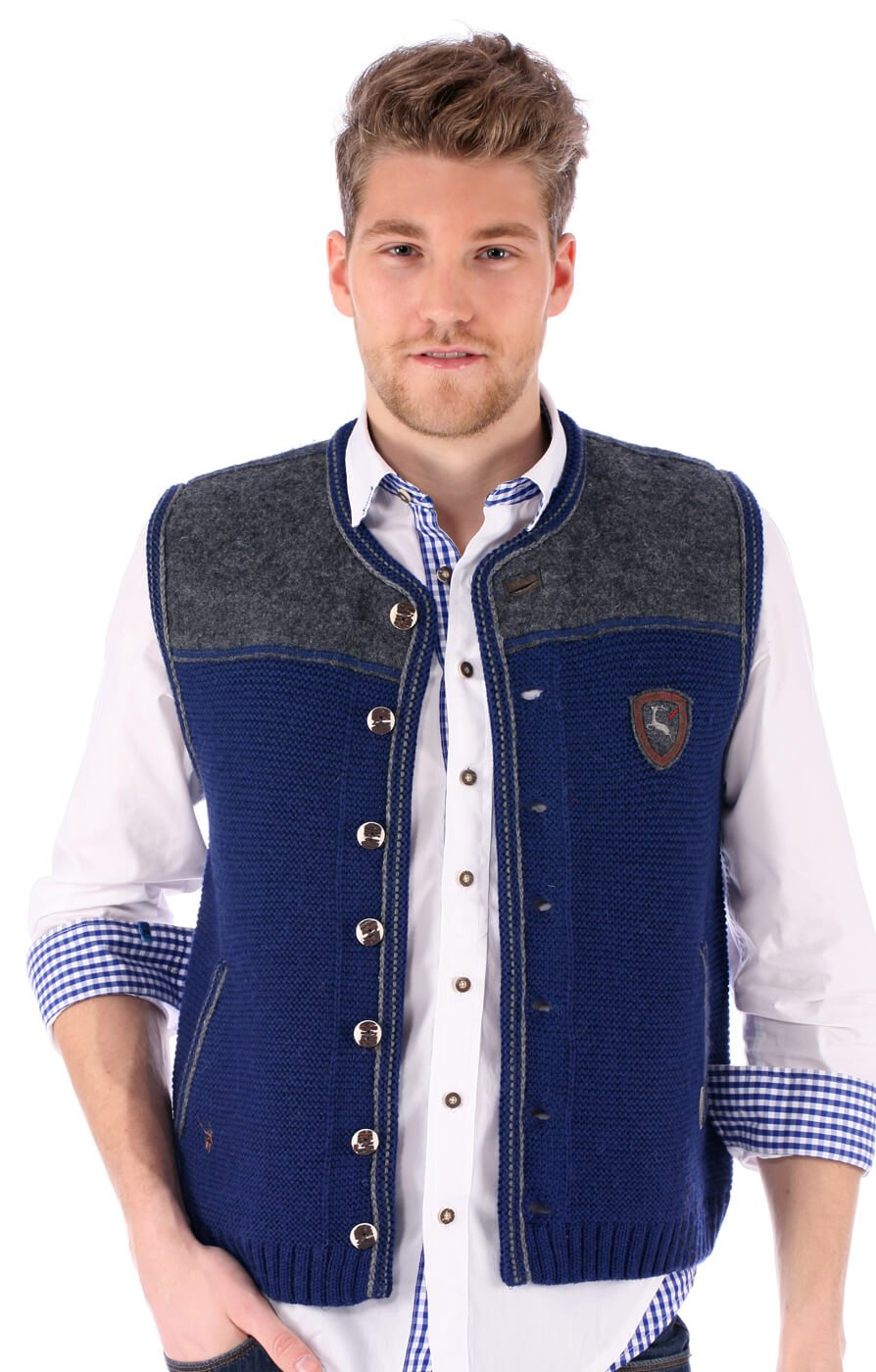German knitted waistcoat Ramsau SW denimblue