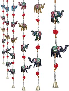 CraftVatika Set of 2 Decorative Elephant Door Hangings | Handmade Decorative Wall Hanging with Bead & Brass Bell | Indian Handicrafts Gift for Mother mom | Home Decoration