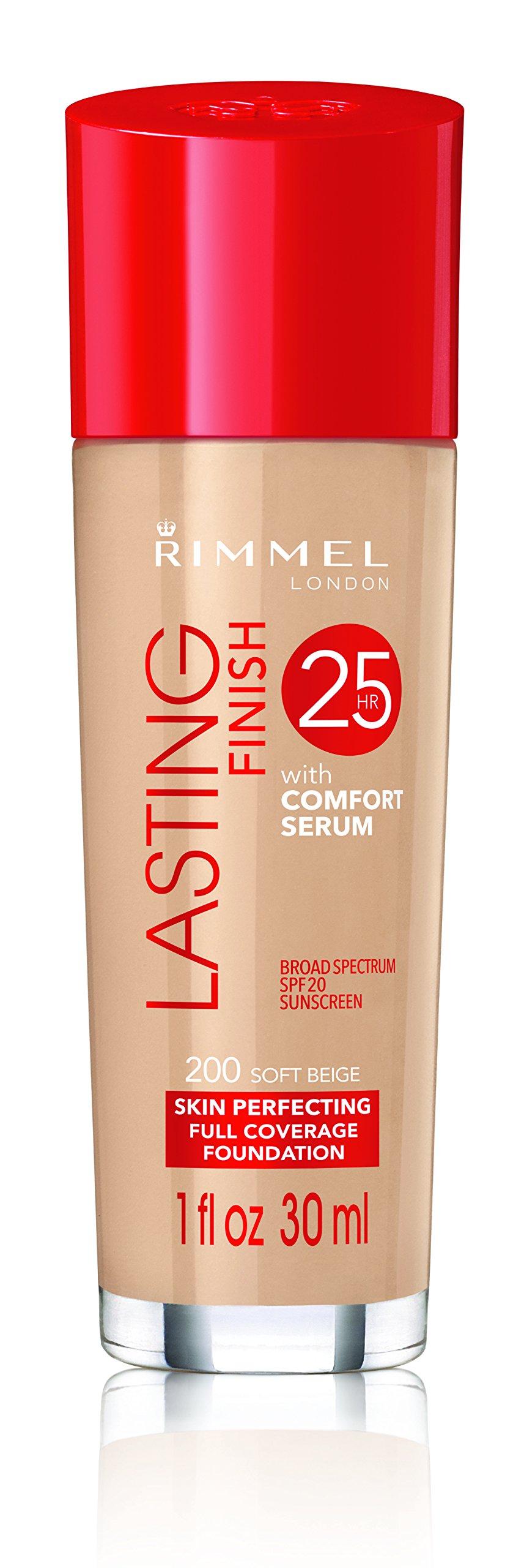 Rimmel Lasting Finish Foundation, Soft Beige, 1 oz., Medium Coverage Liquid Foundation with SPF 20, Long Lasting Smooth & Even Look
