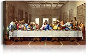 A&T ARTWORK The Last Supper by Leonardo Da Vinci The World Classic Art Reproductions, Giclee Canvas Prints Wall Art for Home Decor, 24x12 inches