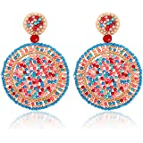 CEALXHENY Beaded Drop Earrings for Women Handmade Colorful Bead Earrings Bohemia Hoop Dangle Earring for Girls