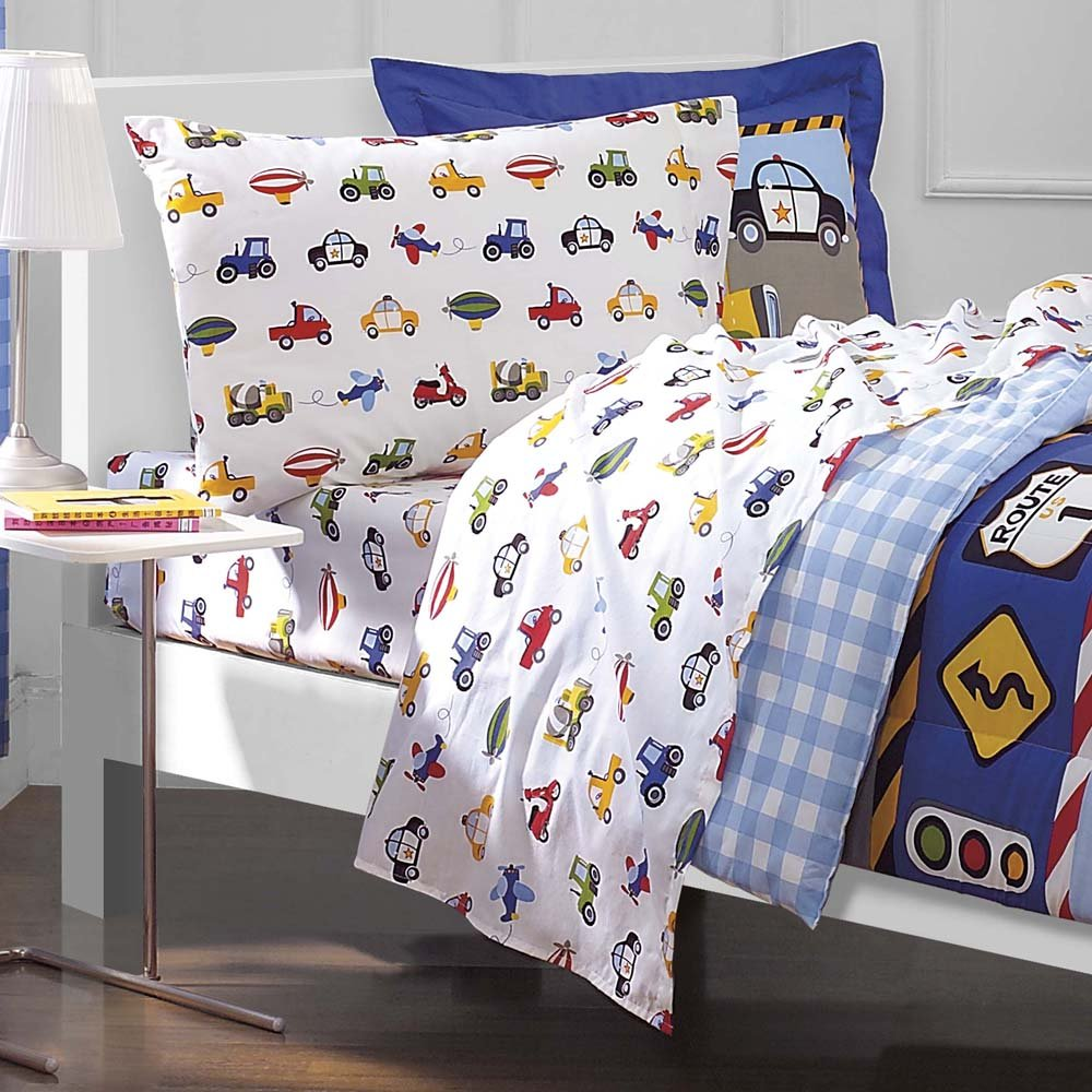 dream FACTORY Trucks Tractors Cars Boys 5-Piece Comforter Sheet Set, Blue Red, Twin by dream FACTORY (Image #3)