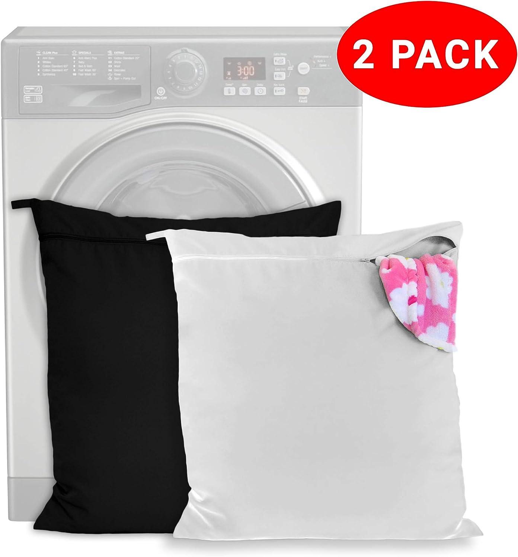 Pack de 2 Bolsa de Lavandería Mascotas – mantenga su lavadora libre de pelo - cremallera y asa - para perros, caballos, gatos – ideal para toallas, mantas, juguetes, arnés y más