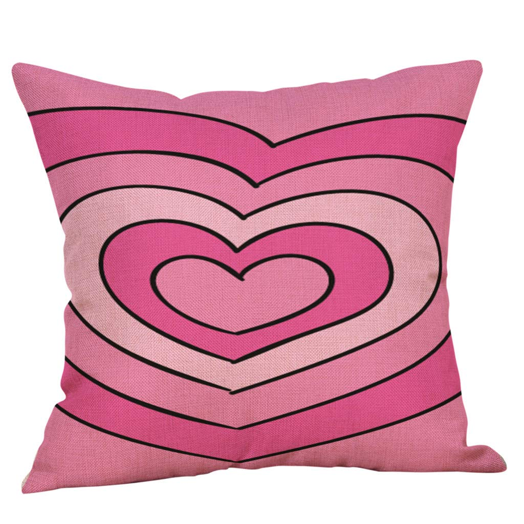 Sikye Valentines Pillow Cover Throw Pillow Cushion Case 18 x 18 Inch Cotton Linen Love Heart Square Home Decor (C)