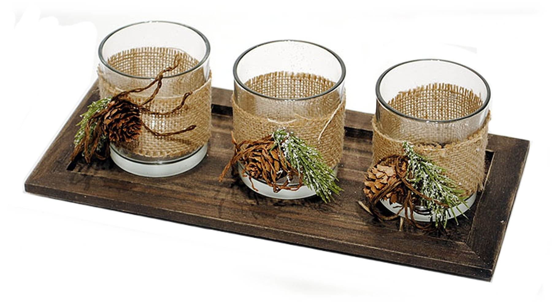 Rustic Wood Tray with 3 Glass Votive Candle Holders Wrapped in Burlap & Pine