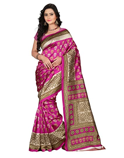 35d5ae7ce Image Unavailable. Image not available for. Colour  e-VASTRAM Women s Art  Mysore Printed Silk Saree(NS9B Pink)