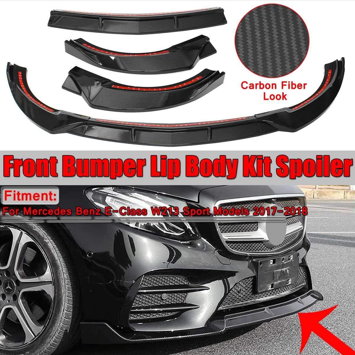 BYWWANG for Benz E Class W213 E200 E300 E320 2017 2018 Sport,3piece Car Front Lip Chin Bumper Lip Body