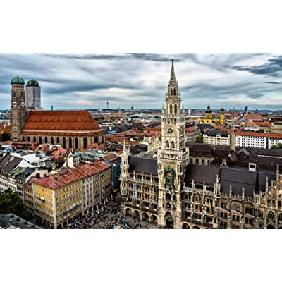 City View of Munich, Germany Jigsaws Puzzles 1500 Pieces DIY Art Style Wood Toys Games Educational for Kids and Adults: Home & Kitchen
