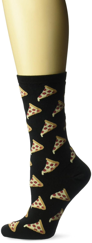 Hot Sox Women's Pizza Crew Socks Black Medium HO000282