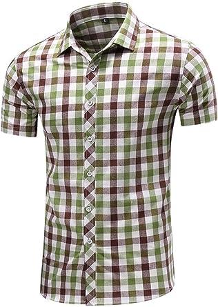Camisa De Leñador Hombres De Moda Clásica Solapa Retro De Manga Corta para Hombre Básico De Verano De Verano Ocio Imprimir Enrejado Camisas Tops: Amazon.es: Ropa y accesorios