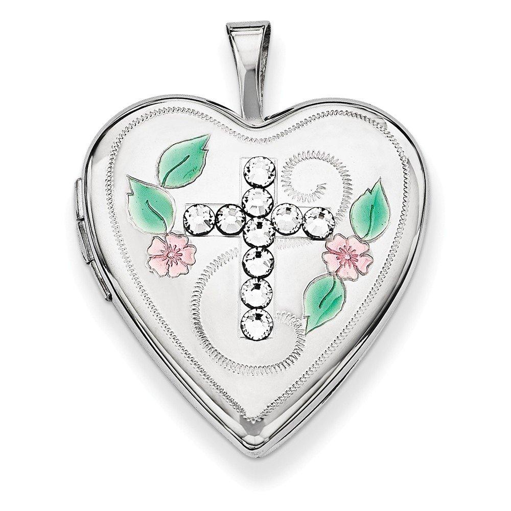 Sterling Silver Enameled Swarovski Elements Cross Heart Locket