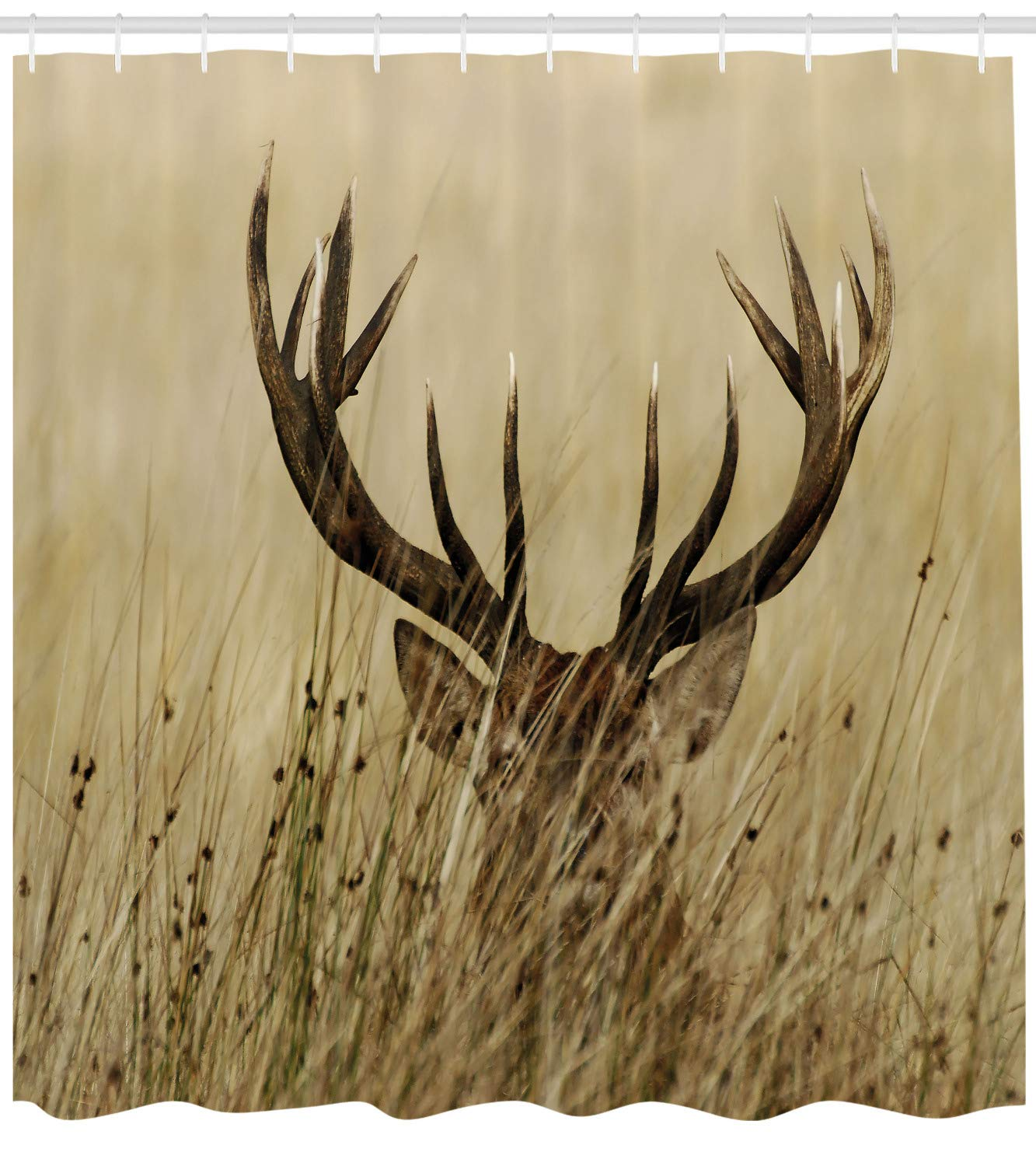 Ambesonne Antler Decor Shower Curtain by, Whitetail Deer Fawn in Wilderness Stag Countryside Rural Hunting Theme, Fabric Bathroom Decor Set with Hooks, 70 Inches, Brown Sand Brown