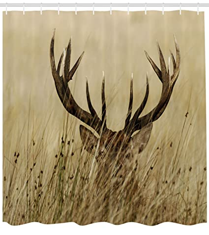 Ambesonne Antler Decor Shower Curtain By Whitetail Deer Fawn In Wilderness Stag Countryside Rural Hunting