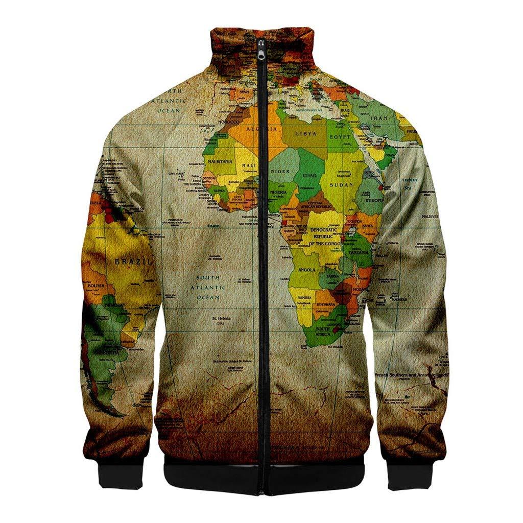 Men 3D Printed Coat NDGDA Unisex Front Zipper Long Sleeve Baseball Jacket World Map Cardigan Standing Collar Tops