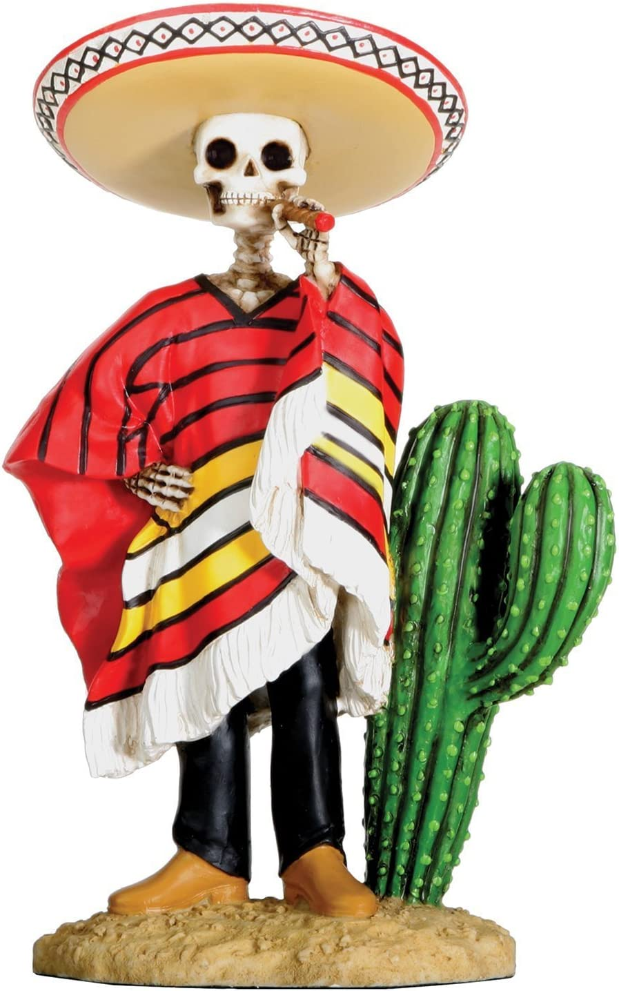Dod Bandito Mexican Bandit with Cigar Skeleton Outlaw Sculpture