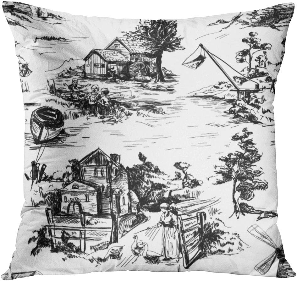 Tomkeys Throw Pillow Cover Classic Pattern With Old Town Village Scenes Of Fishing In Toile De Jouy Style White And Black Color Decorative Pillow Case Home Decor Square 16x16 Inches Pillowcase