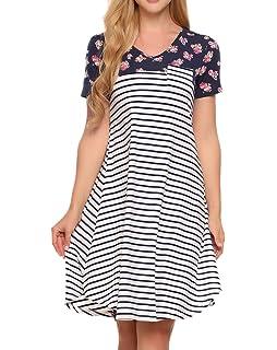 c9a93f90533e Zeagoo Women s Tunic Swing T-Shirt Dress Short Sleeve Striped Tunic Dress