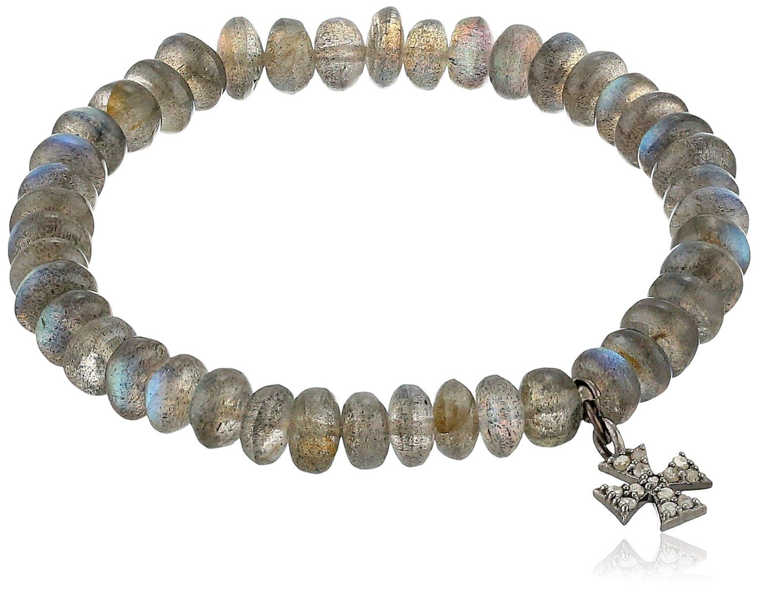 Azaara Maltese Cross Diamond and Labradorite Charm Stretch Bracelet (1/10cttw, I2-I3 Clarity), 3''