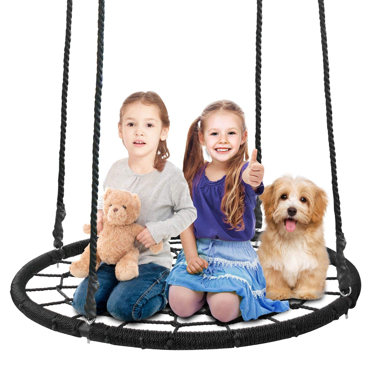 SUPER DEAL 40'' Spider Web Tree Swing Net Swing Platform Rope Swing 71'' Detachable Nylon Rope Swivel, Max 600 Lbs, Extra Safe and Durable, Fun for Kids by SUPER DEAL