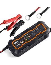 INTEY Cargador de batería, Cargador baterías Coche, el Modelo de Actualización, Mantenimiento Automático e Inteligente para baterías 5 Amp y 6/12v, Simplificación, Seguro y Buena aplicabilidad