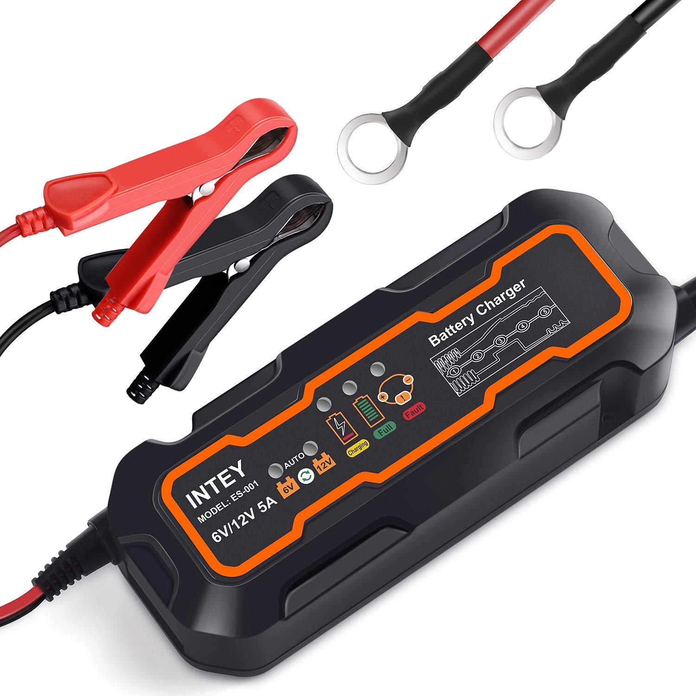 INTEY Batterieladegerä t 8.0 Vollautomatisches Batterieladegerä t Autobatterie Ladegerä t fü r Motorrad und KFZ, Batterien-Winter Batterieschutz 6/12 V (0.8A 2A 4A)