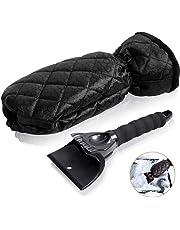 SUNNEY Eiskratzer-Eiskratzer mit Wasserdichtem Handschuh Eiskratzer Auto mit Rutschfestem Griff für Auto Windschutzscheiben und -Fenster (Schwarz)