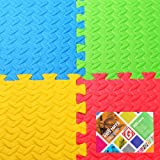 ****SALE***** Gallant Outdoor/ Indoor Protective Kids Soft Floor Mats Interlocking 4 Tiles 16 SQUARE FEET - Reversible Floor Matting suitable for Gym, Baby Play Area, Exercise, Yoga, Pilates, Martial Art Mats Free Edge Pieces