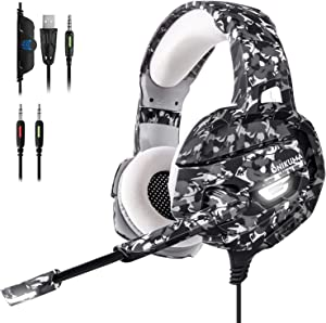 BEDOHAVE Wired Gaming Headset for PS4, Xbox One, Nintendo Switch, Laptop, Mac, PC, Stereo Surround Sound Noise Canceling Headphones with Led Light Mic, Mute Volume Control