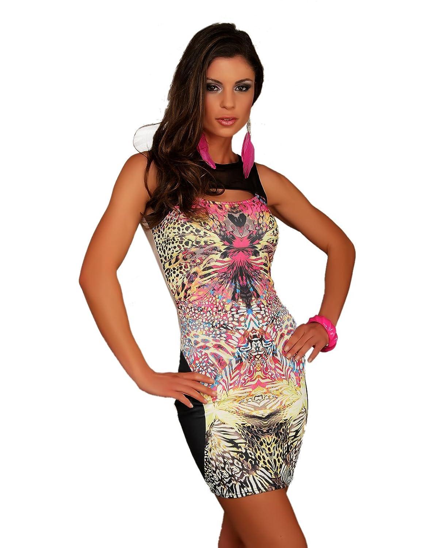 Damen Minikleid aus weichem Stretchstoff und Tüll mit stylischen Cutouts am Dekoltébereich R6-F