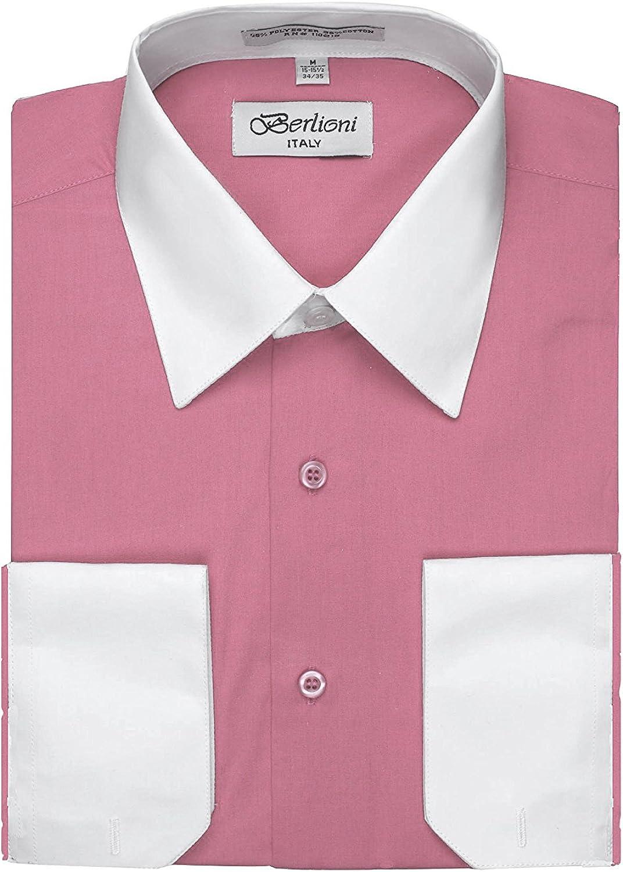 Berlioni Camisa de vestir de dos tonos para hombre con puños de imitación franceses convertibles - muchos colores