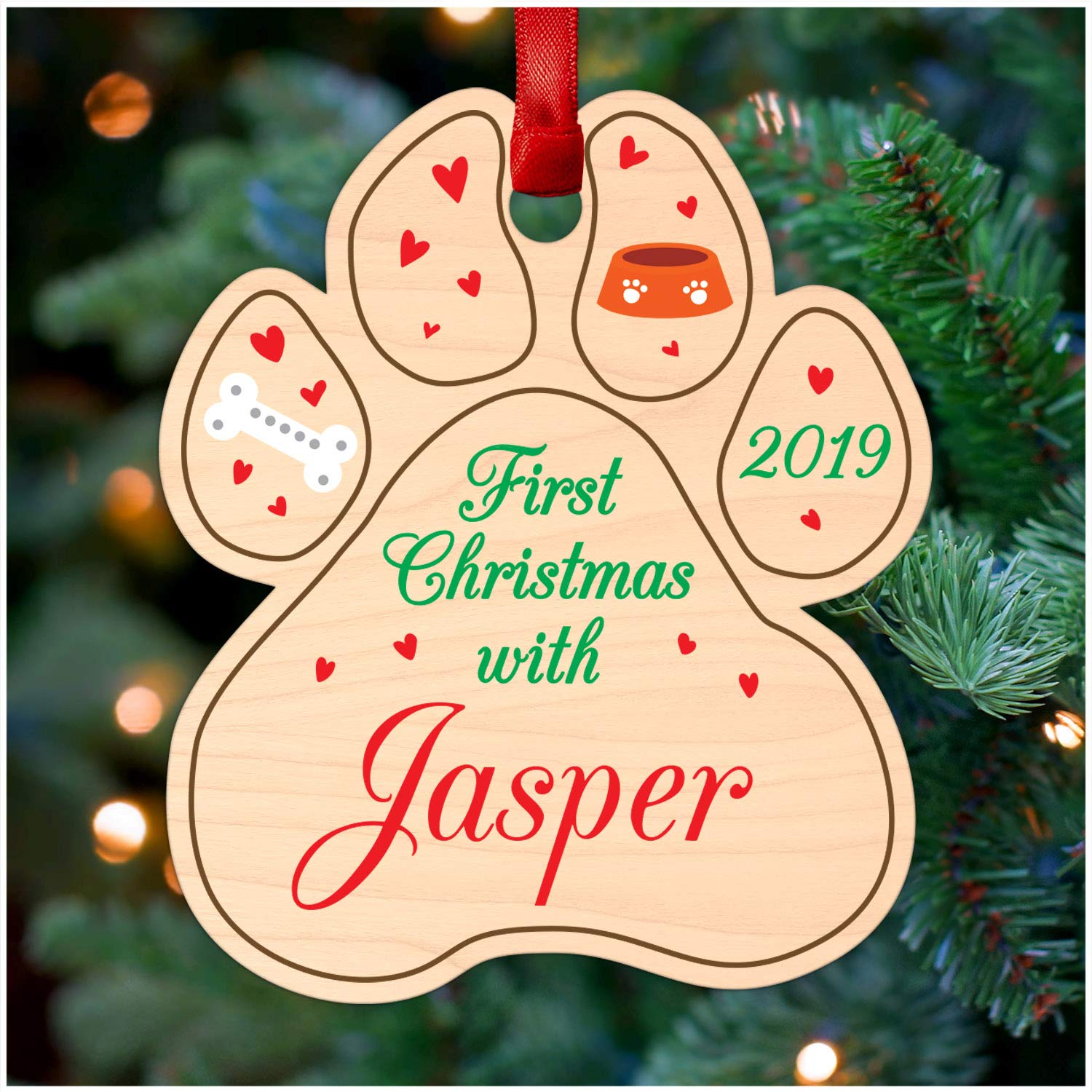 Printed Wood Christmas Tree Ornament First Christmas with Dog Puppy Paw Print PERSONALISED Christmas Tree Decoration Keepsake 1st Christmas Gifts Christmas Gifts for Dog Pug Labrador Retriever