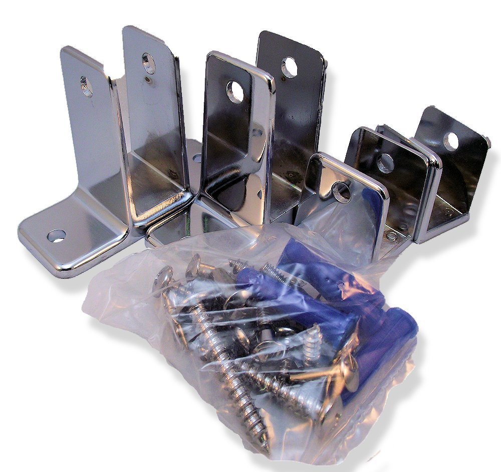 Chrome Plated Zamac Two Ear Panel Bracket Pak for 7/8'' Restroom Partition Panels