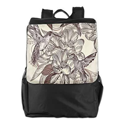 Newfood Ss Pattern With Birds And Flowers Classic Style Ornamental Design Floral Print Outdoor Travel Backpack Bag For Men And Women