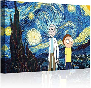 """HAOSHUNDA HSD Wall Art Rick and Morty Posters On Canvas Oil Painting Posters and Prints Decorations Wall Art Picture Living Room Wall Ready to Hang 12"""" x 18"""" 16"""" x 24"""" (12""""x18""""x1, Artwork-19)"""