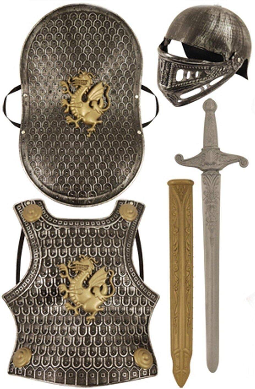 Child's Medieval Knight Armour Set - Helmet, Sword, Shield, Breast Plate Available in Bronze or Silver (accesorio de disfraz)
