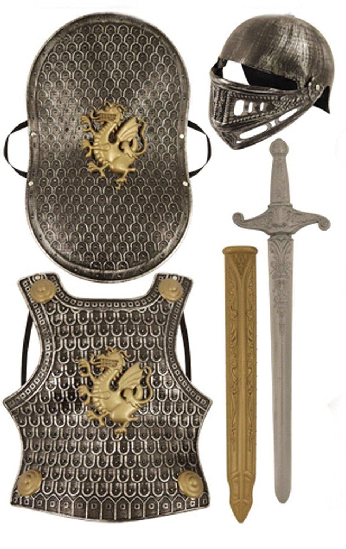 Enfants Chevalier Médiéval Armure Bouclier De L'épée Déguisement - ARGENT 5 PIÈCES, Taille Unique (Enfants) HBT