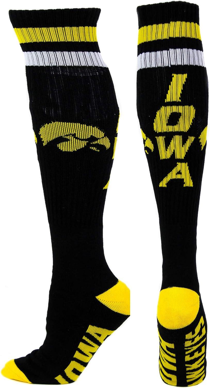 NCAA Iowa Hawkeyes Tube Socks, One Size, Black