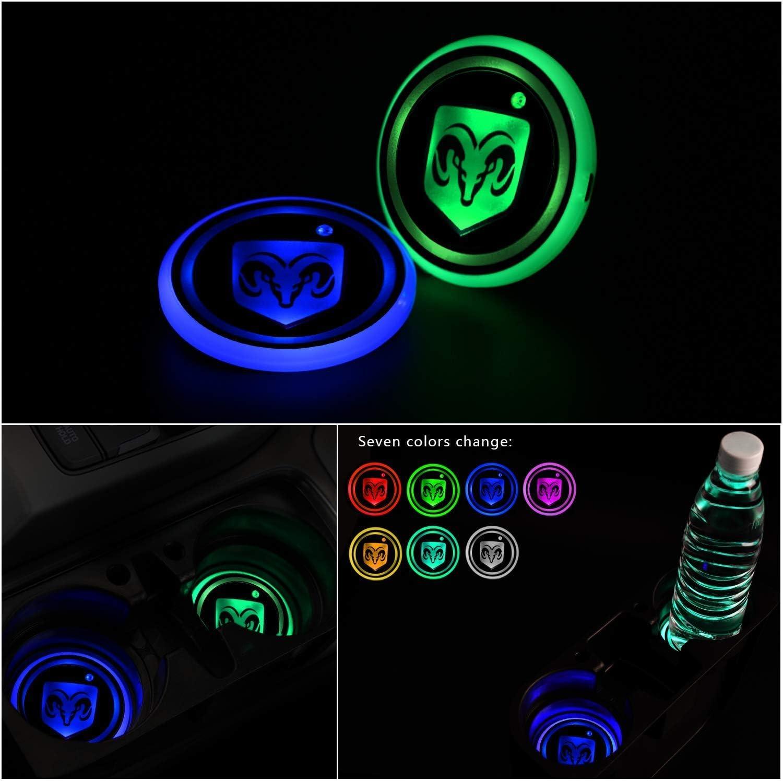 dessous de verre /étanche 7 couleurs changeantes Gabriel Lot de 2 porte-gobelets LED pour voiture avec LED brillant pour bouteille deau