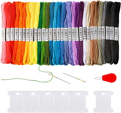 Cross Stitch Threads Friendship Bracelets Floss with 6 Pieces Floss Bobbins 2 Embroidery Needles and 1 Needle Threader for Cross Stitch Project Pllieay 30 Skeins Rainbow Color Embroidery Floss