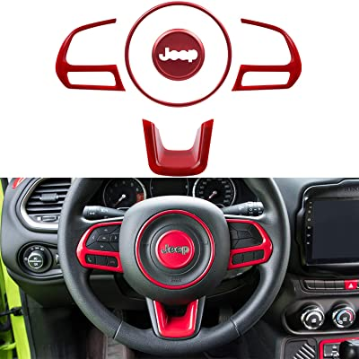Bonbo Steering Wheel Buttons Cover 5Pcs ABS Interior Decoration Trim Kit for Jeep Renegade 2015-2020 (Red): Automotive