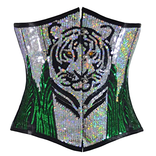 Tigre con lentejuelas Corset senos libres verde plata