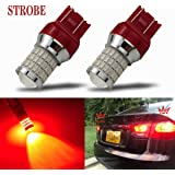 iBrightstar Newest 9-30V Flashing Strobe Blinking Brake Lights 7440 7443 T20 LED Bulbs with Projector replacement for…