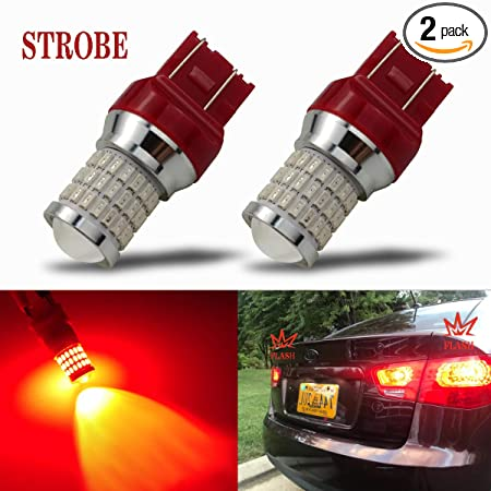 I Brightstar Newest 9 30 V Flashing Strobe Blinking Brake Lights 7440 7443 T20 Led Bulbs With Projector Replacement For Tail Brake Stop Lights, Brilliant Red by I Brightstar