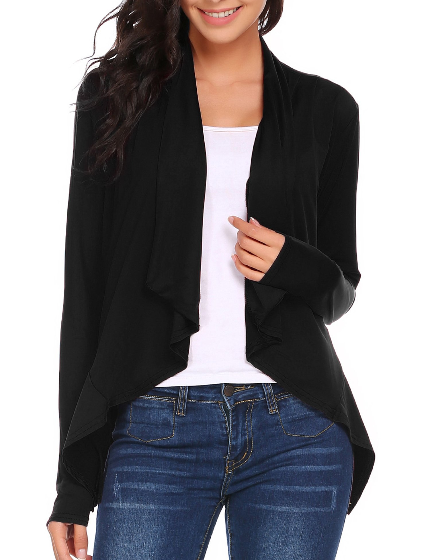 SE MIU Women's Long Sleeve Solid Ruched Open Front Casual Work Office Cardigan Coat Tops