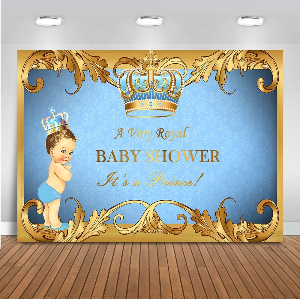 Mehofoto Royal Prince Baby Shower Backdrop Light Blue Crown Photography Background 7x5ft Vinyl Little Prince Boy Baby Shower Party Banner Backdrops Decoration