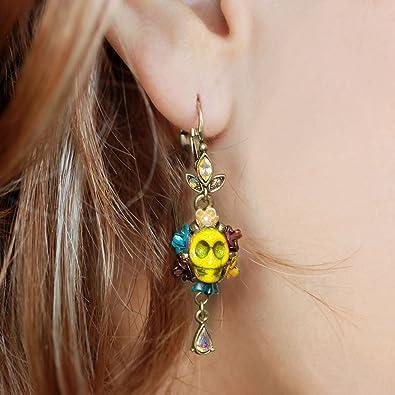 alder laser cut wood earrings Dia de Muertos Halloween earrings Day of the dead earrings Sugar Skull earrings