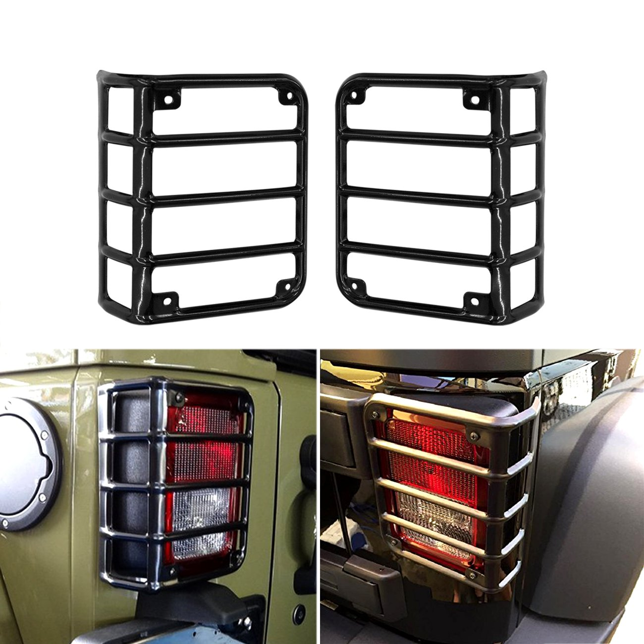 DIYTuning Euro Tail lamp light Cover Trim Guards Protector for Jeep Wrangler JK JKU Unlimited Rubicon Sahara Sport Exterior Accessories Parts 2007 2008 2009 2010 2011 2012 2013 2014 2015 2016 2017 DIYMaker